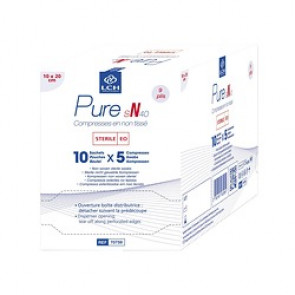 Compresses Non tissées Stériles Pure N40 9plis- 10cmx20cm - LCH - Boite de 50